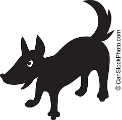 Cartoon silhouette of a dog