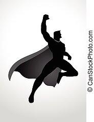 Cartoon silhouette of a superhero flying