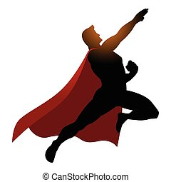 Cartoon silhouette of a superhero flying