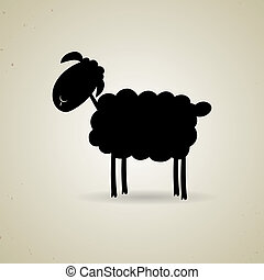 Cartoon silhouette of sheep standing sideways to the camera...
