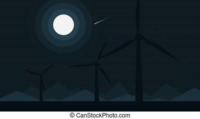 Cartoon silhouettes of three wind generators at full moon...