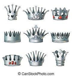 Cartoon Silver Royal Crowns Set - Cartoon silver royal...