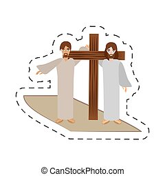 cartoon simon help jesus carry cross