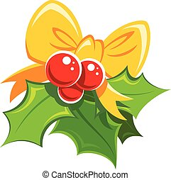 Cartoon simple mistletoe red and green design element with yello