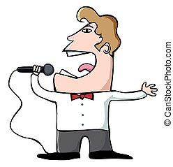 Cartoon singer - A cartoon singer with a microphone belts...