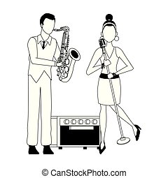 cartoon singer woman and saxophonist, flat design