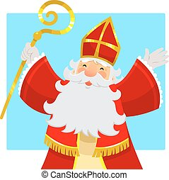 cartoon Sinterklaas or Saint Nicholas smiling and raising...
