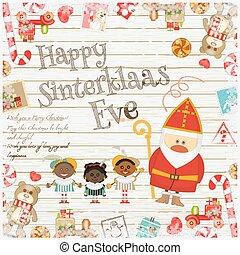 Dutch Santa Claus - Cartoon Sinterklaas or Saint Nicholas -...