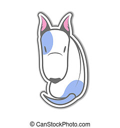 Cartoon sitting bull terrier