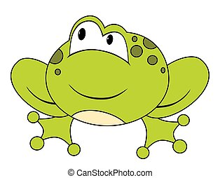Cartoon sitting frog. Isolated