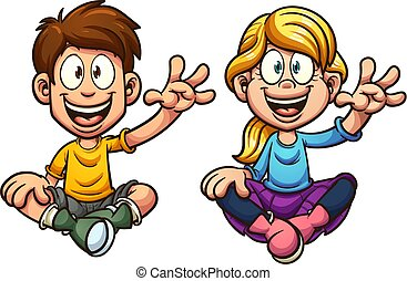 Cartoon sitting kids