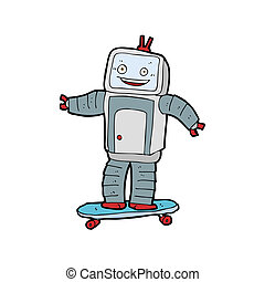 cartoon skateboarding robot