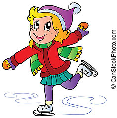Cartoon skating girl - vector illustration.