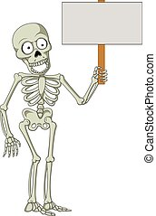 Cartoon skeleton holding blank sign