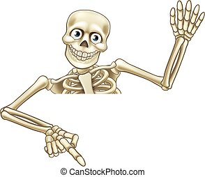 Cartoon Skeleton Pointing Down - A skeleton Halloween...