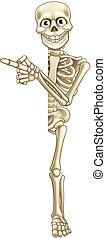 Cartoon Skeleton Pointing - A skeleton cartoon character...