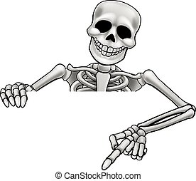 Cartoon Skeleton Pointing Sign - A skeleton Halloween...