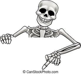 Cartoon Skeleton Pointing Sign - A skeleton Halloween...