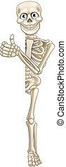 Cartoon Skeleton Thumbs Up Halloween Sign
