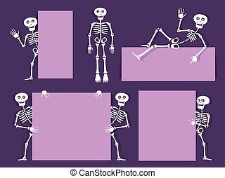 Cartoon skeleton vector bony character with banners and flyers. Paper cut out style design. Day of the dead invitation background. Vector illustration.
