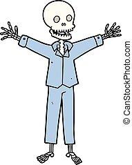 cartoon skeleton wearing pajamas