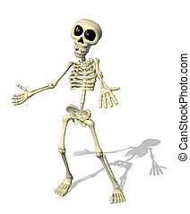 A cartoon skeleton welcomes you - 3D render.