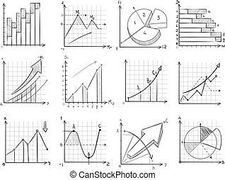 Cartoon sketch business graphic, charts vector doodle infographics elements