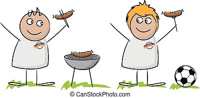 Cartoon sketch of football fans at a barbecue