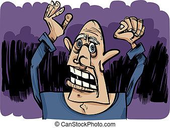 cartoon sketch of scared man - cartoon sketch illustration...
