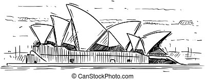 Cartoon Sketch of Sydney opera House, Australia
