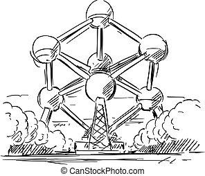 Cartoon sketch drawing illustration of Atomium in Brussels, Belgium.