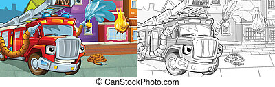 cartoon sketch scene red firetruck - duty - illustration