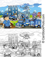 Cartoon sketch stage with different machines for police duty...