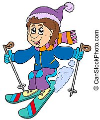 Cartoon skiing boy - isolated illustration.