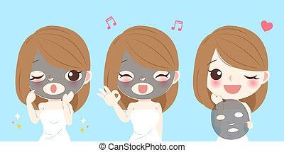 cartoon skin care woman
