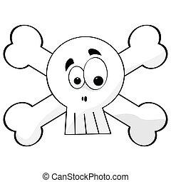 Cartoon skull and bones