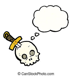 cartoon skull and dagger