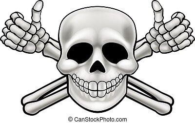 Cartoon Skull and Thumbs Up Crossbones - Cartoon Halloween...