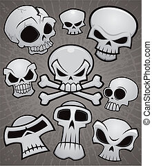 A collection of vector cartoon skulls in various styles.
