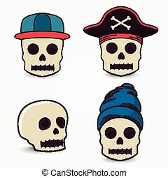 Cartoon skull collection in cap, pirate.