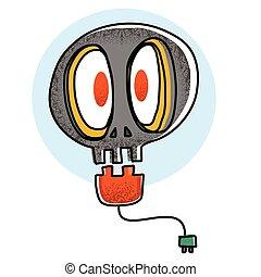 Cartoon skull light bulb