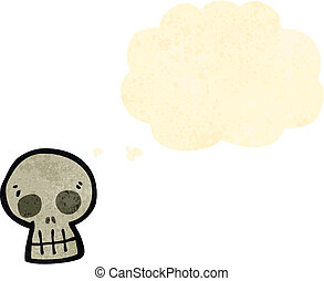 cartoon skull symbol with thought cloud