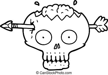 cartoon skull with arrow through brain