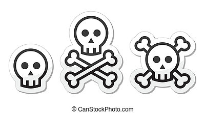 Cartoon skull with bones icon