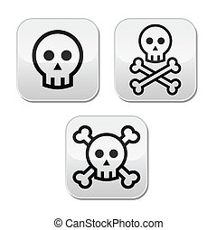 Cartoon skull with bones vector but