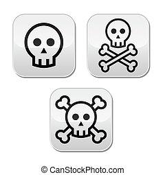 Cartoon skull with bones vector but