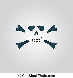 Cartoon skull with bones vector icon
