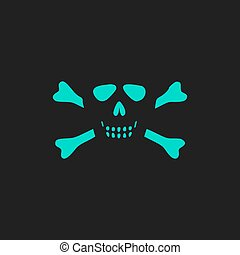 Cartoon skull with bones vector icon