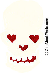 cartoon skull with love heart eyes