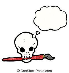 cartoon skull with paint brush